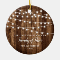 Rustic Wood Fairy Lights New Baby Gift Family Name Ceramic Ornament