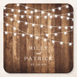 """Rustic Wood & Fairy Lights Personalized Wedding Square Paper Coaster<br><div class=""""desc"""">Rustic Wood & Fairy Lights Personalized Wedding Square Paper Coasters make the perfect addition to your rustic wedding.  Featuring barn wood and mini fairy light accents,  these custom paper coasters are a must have for your rustic wedding table decor.  Personalize with names and date by clicking """"Customize It""""!</div>"""