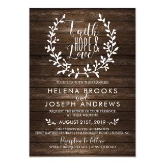 Rustic Wood Faith Wedding Invitation