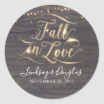 """Rustic Wood Fall in Love Autumn Wedding Classic Round Sticker<br><div class=""""desc"""">Fall in Love rustic country wedding stickers</div>"""