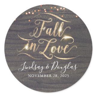 Rustic Wood Fall in Love Autumn Wedding Classic Round Sticker