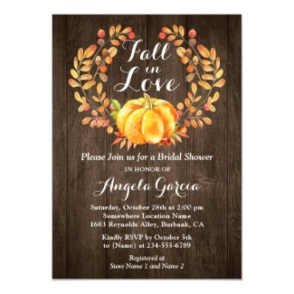 Rustic Wood Fall in Love Pumpkin Bridal Shower Invitation