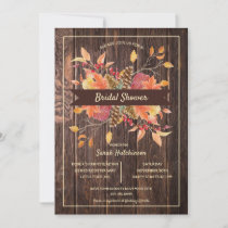 Rustic Wood   Fall Leaves Bridal Shower Invitation