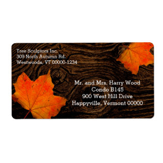 Rustic Wood Fall Leaves Shipping Label Templates