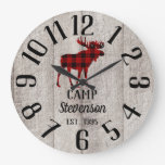 Rustic Wood Family Camp | Buffalo Plaid Moose Large Clock