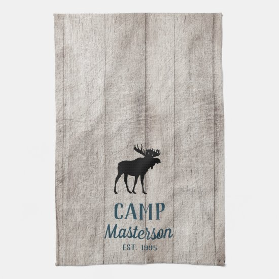 Rustic Wood Family Camp Moose Kitchen Towel