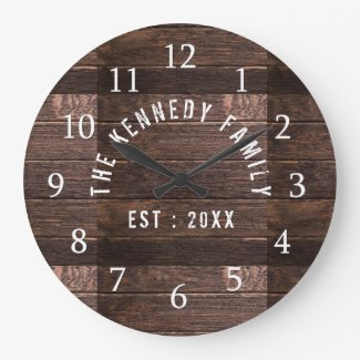 Rustic Wood Family Name Farmhouse Large Clock
