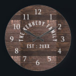 """Rustic Wood Family Name Farmhouse Large Clock<br><div class=""""desc"""">Rustic Wood Family Name Farmhouse  Wall Clock - Farmhouse style wall clocks for the perfect addition to give your kitchen a country decor look.Personalize with family name and established year for an unique farmhouse wall clock.</div>"""