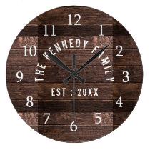 Rustic Wood Family Name Farmhouse Large Clock