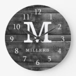 Rustic Wood Family Name Monogram Black And White Large Clock
