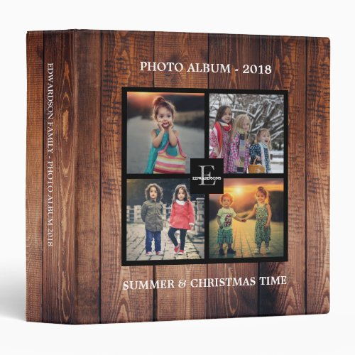 Rustic wood family photo collage photo album 3 ring binder