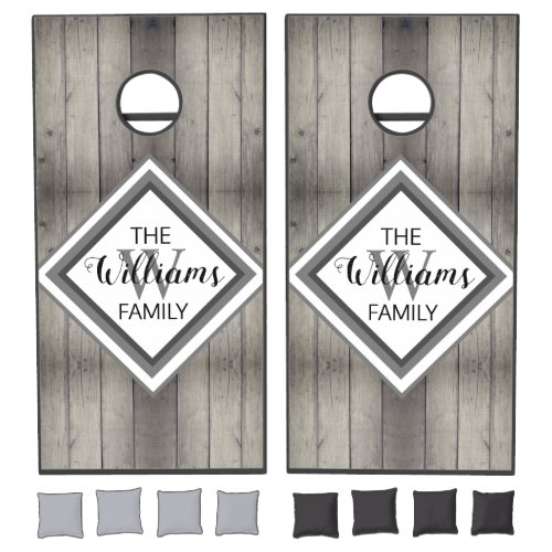 Rustic Wood Farmhouse Chic Monogram Family Name Cornhole Set