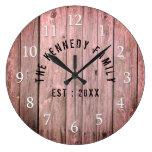 Rustic Wood Farmhouse Family Name Large Clock