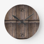 Rustic Wood Farmhouse Monogram Round Clock