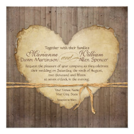 Rustic Wood Fence Boards Heart Antiqued Parchment Invite