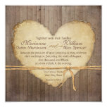 "Rustic Wood Fence Boards Heart Antiqued Parchment 5.25"" Square Invitation Card"