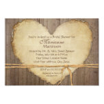 Rustic Wood Fence Boards Heart Bridal Shower 5x7 Paper Invitation Card
