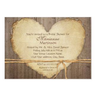 Rustic Wood Fence Boards Heart Bridal Shower Card