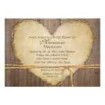 Rustic Wood Fence Boards Heart Bridal Shower Custom Announcements