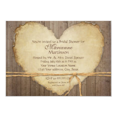 Rustic Wood Fence Boards Heart Bridal Shower 5x7 Paper Invitation Card at Zazzle