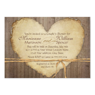 Rustic Wood Fence Boards Heart Couples Shower 5x7 Paper Invitation Card