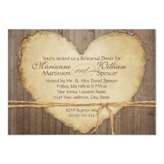 Rustic Wood Fence Boards Heart Rehearsal Dinner Card