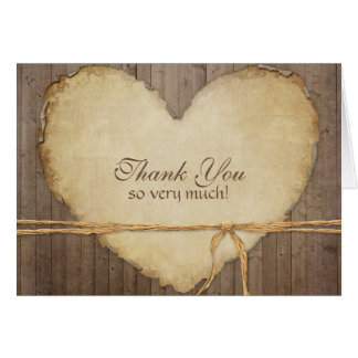 Rustic Wood Fence Boards Heart Thank You Notes