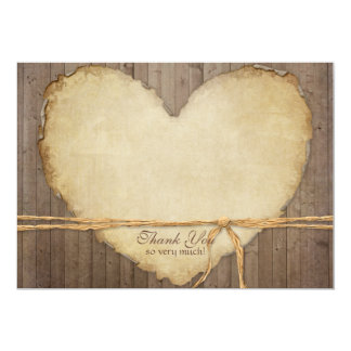 Rustic Wood Fence Boards Heart Thank You Notes Card