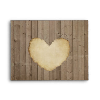 Rustic Wood Fence Boards Heart Thank You Notes Envelopes