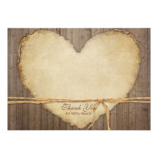 Rustic Wood Fence Boards Heart Thank You Notes Personalized Invite