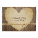 Rustic Wood Fence Boards Heart Thank You Notes Stationery Note Card
