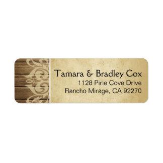 Rustic Wood Filigree | brown tan Label