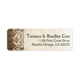Rustic Wood Filigree | brown white Label