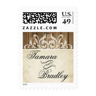 Rustic Wood Filigree | brown white Postage Stamps