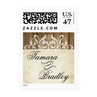 Rustic Wood Filigree | brown white Stamp