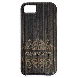 Rustic Wood Filigree Designer   ebony tan iPhone SE/5/5s Case