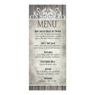 Rustic Wood Filigree Dinner Menu | grey Card