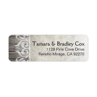 Rustic Wood Filigree   grey Label