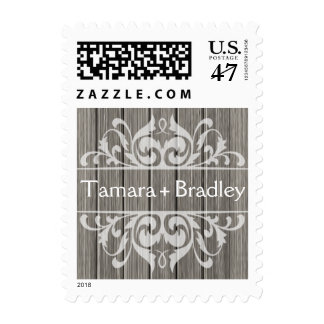 Rustic Wood Filigree | grey white Postage Stamp
