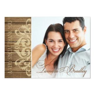 Rustic Wood Filigree Photo Thank You | brown tan Card