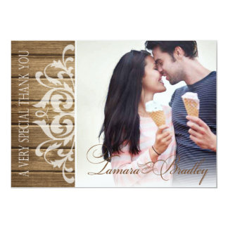 Rustic Wood Filigree Photo Thank You | brown white Card