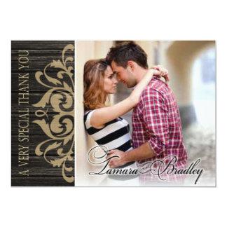 Rustic Wood Filigree Photo Thank You | ebony tan Card