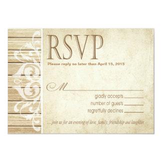 Rustic Wood Filigree RSVP Response | blonde white Card