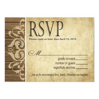 Rustic Wood Filigree RSVP Response | brown tan Card