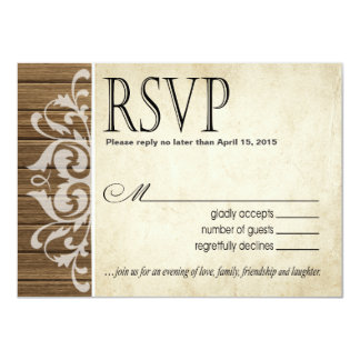 Rustic Wood Filigree RSVP Response | brown white Card