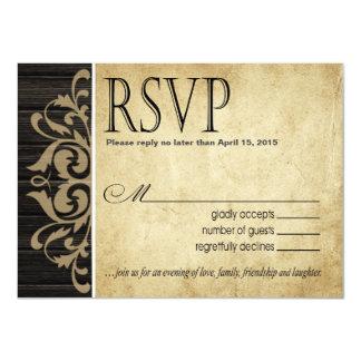 Rustic Wood Filigree RSVP Response | ebony tan Card