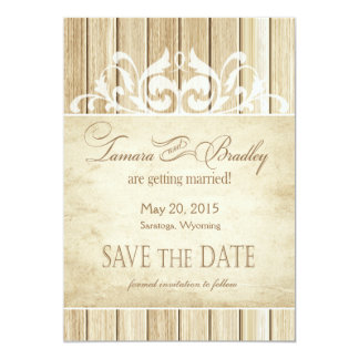Rustic Wood Filigree Save the Date | blonde white Card
