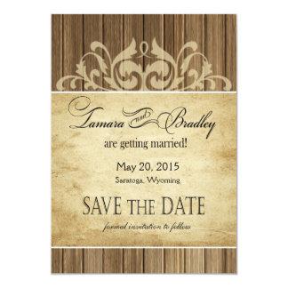 Rustic Wood Filigree Save the Date | brown tan Card