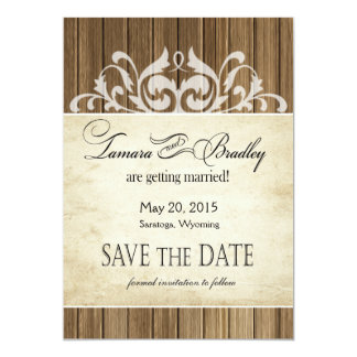Rustic Wood Filigree Save the Date | brown white Card
