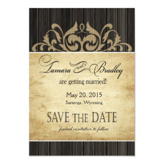 Rustic Wood Filigree Save the Date | ebony tan Card